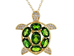 Green Chrome Diopside 18k Yellow Gold Over Sterling Silver Pendant with Chain 3.88ctw