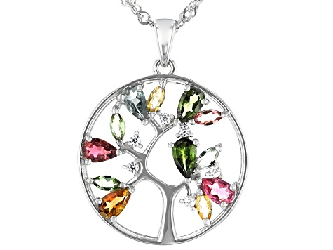 Multi Tourmaline Rhodium Over Sterling Silver Tree Of Life Pendant W/Chain 1.48ctw
