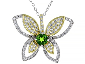 Green Chrome Diopside Rhodium Over Silver with 18k Gold Accent Pendant with Chain 1.79ctw