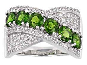 Green Chrome Diopside Rhodium Over Sterling Silver Ring 2.79ctw
