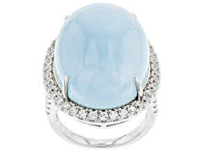 Blue Aquamarine Rhodium Over Sterling Silver Ring 31.40ctw
