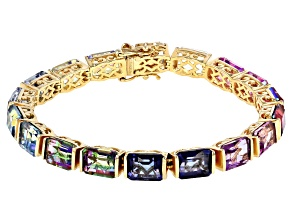 35.8ctw Multi-color Quartz 14K Gold Over Silver Tennis Bracelet