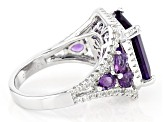 Purple Amethyst Rhodium Over Silver Ring 5.84ctw
