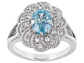 Blue Zircon Rhodium Over Sterling Silver Ring 2.29ctw