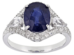 Blue Mahaleo® Sapphire Rhodium Over Sterling Silver Ring 4.97ctw