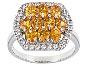 Orange Mandarin Garnet Rhodium Over Sterling Silver Ring 2.64ctw