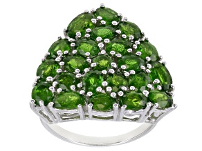 Green Chrome Diopside Rhodium Over Sterling Silver Ring 4.17ctw