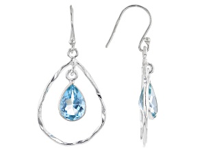 Blue Topaz Rhodium Over Sterling Silver Earrings 2.90ctw