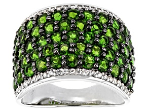 Green Chrome Diopside Rhodium Over Sterling Silver Ring 4.55ctwctw