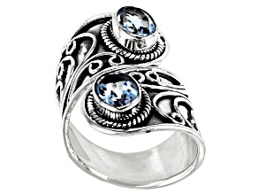 Blue Topaz Rhodium Over Sterling Silver Bypass Ring 2.15ctw