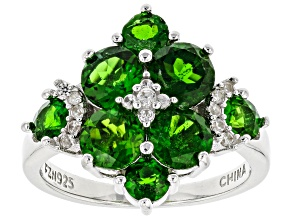 Green Chrome Diopside Rhodium Over Sterling Silver Ring 2.99ctw