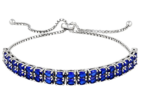 Lab Created Blue Spinel Rhodium Over Silver Bracelet 4.64ctw