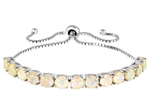 Lab Created Opal Rhodium Over Sterling Silver Bolo Bracelet  5.5mm