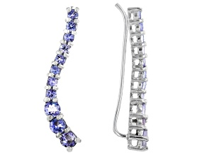 Blue Tanzanite Rhodium Over Sterling Silver Ear Climber Earrings 1.30