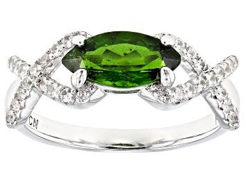 Picture of Green Chrome Diopside Rhodium Over Sterling Silver Ring 1.39ctw