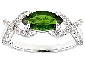 Green Chrome Diopside Rhodium Over Sterling Silver Ring 1.39ctw