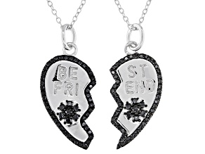 Round Black Spinel Rhodium Over Silver Best Friends Pendants, Set of 2 0.75ctw