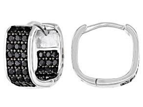 Black Spinel Rhodium Over Silver Huggie Earrings 1.17ctw