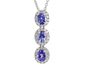 "Tanzanite Rhodium Over Sterling Silver Pendant with 18"" Chain 1.60ctw"
