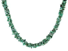 Green Emerald Rhodium Over Sterling Silver Beaded Necklace