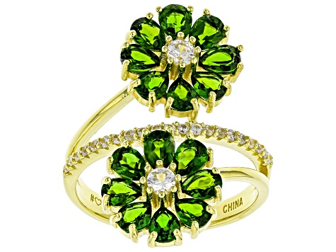 Green Chrome Diopside 18k Yellow Gold Over Sterling Silver Ring 3.24ctw