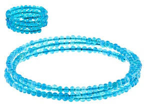 Paraiba Blue Color Opal Stainless Steel Coiled Wrap Bracelet and Ring Set