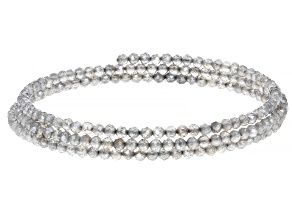Gray Labradorite Stainless Steel Wrap Bracelet