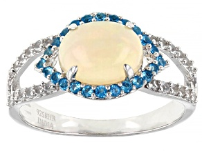 Multi-Gemstone Rhodium Over Silver Ring 1.39ctw