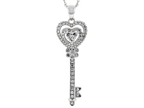 Lab White Sapphire Rhodium Over Sterling Silver Key Pendant With Chain. 0.92ctw