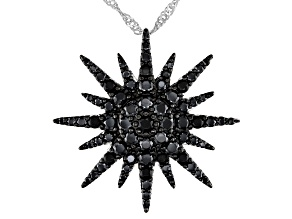 Black Spinel Rhodium Over Silver Pendant with Chain 1.10ctw