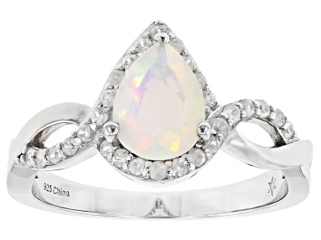 Picture of Ethiopian Opal Rhodium Over Silver Ring 0.65ctw