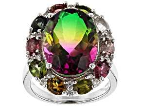 Bi-Color Quartz Doublet Rhodium Over Silver Ring 9.40ctw