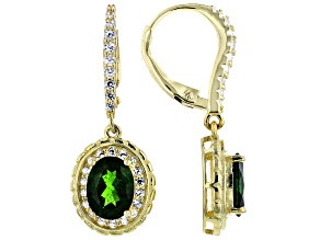 Green Chrome Diopside 18k Yellow Gold Over Sterling Silver Earrings 3.68ctw