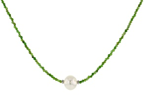 Chrome Diopside Bead Rhodium Over Silver Necklace 16.00ctw