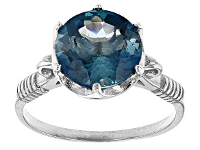 London Blue Topaz Rhodium Over Silver Ring 4.00ctw