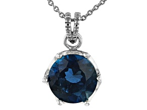 London Blue Topaz Rhodium Over Sterling Silver Pendant with Chain 4.00ct
