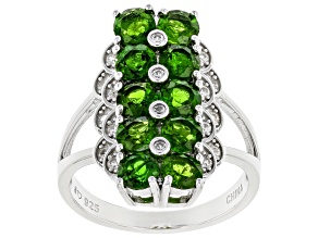 Green Chrome Diopside Rhodium Over Sterling Silver Ring 3.07ctw