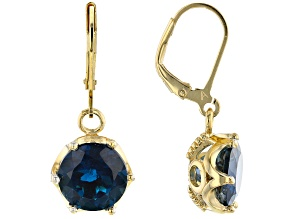 London Blue Topaz 18k Yellow Gold Over Sterling Silver Dangle Earrings