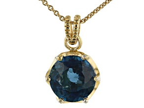 London Blue Topaz 18k Yellow Gold Over Sterling Silver Pendant with Chain