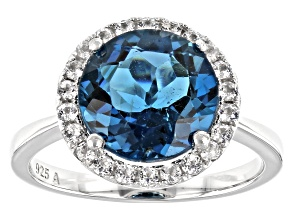 London Blue Topaz Rhodium Over Silver Halo Ring 3.80ctw