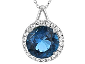 London Blue Topaz Rhodium Over Sterling Silver Pendant with Chain 4.30ctw