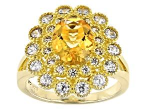 Citrine 14K Yellow Gold Over Sliver Ring 3.32ctw