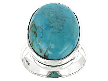 Picture of Blue Turquoise Sterling Silver Solitaire Ring