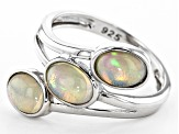 Ethiopian Opal Rhodium Over Silver 3- Stone Ring 7x5mm