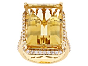 Yellow Citrine 18k Yellow Gold Over Sterling Silver Ring 19.15ctw