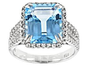 Blue Topaz Rhodium Over Silver Ring 8.30ctw