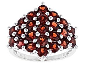 Red Garnet Rhodium Over Silver Ring 4.15ctw