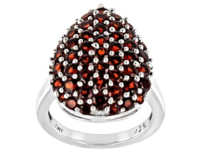Garnet Rhodium Over Silver Cluster Ring 4.32ctw