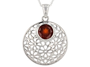Hessonite Sterling Silver Pendant With Chain 1.75ctw