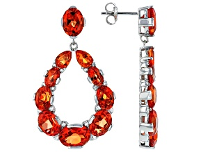Orange Lab Created Padparadscha Sapphire Rhodium Over Silver Earrings 18.78ctw